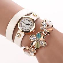 Elegantní dámské hodinky s ozdobným páskem a květinkou z Aliexpress