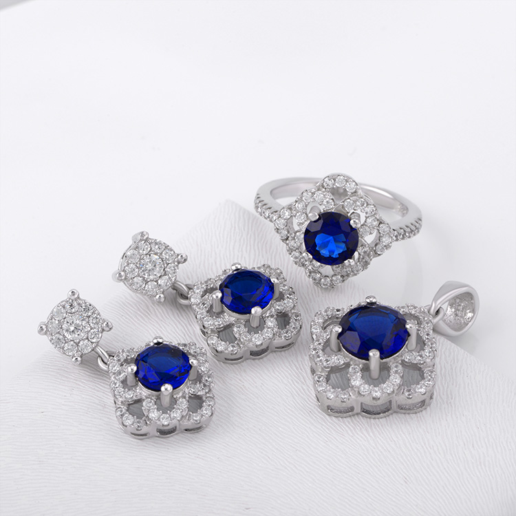 Sapphire necklace stud earring pendant jewelry set for wedding