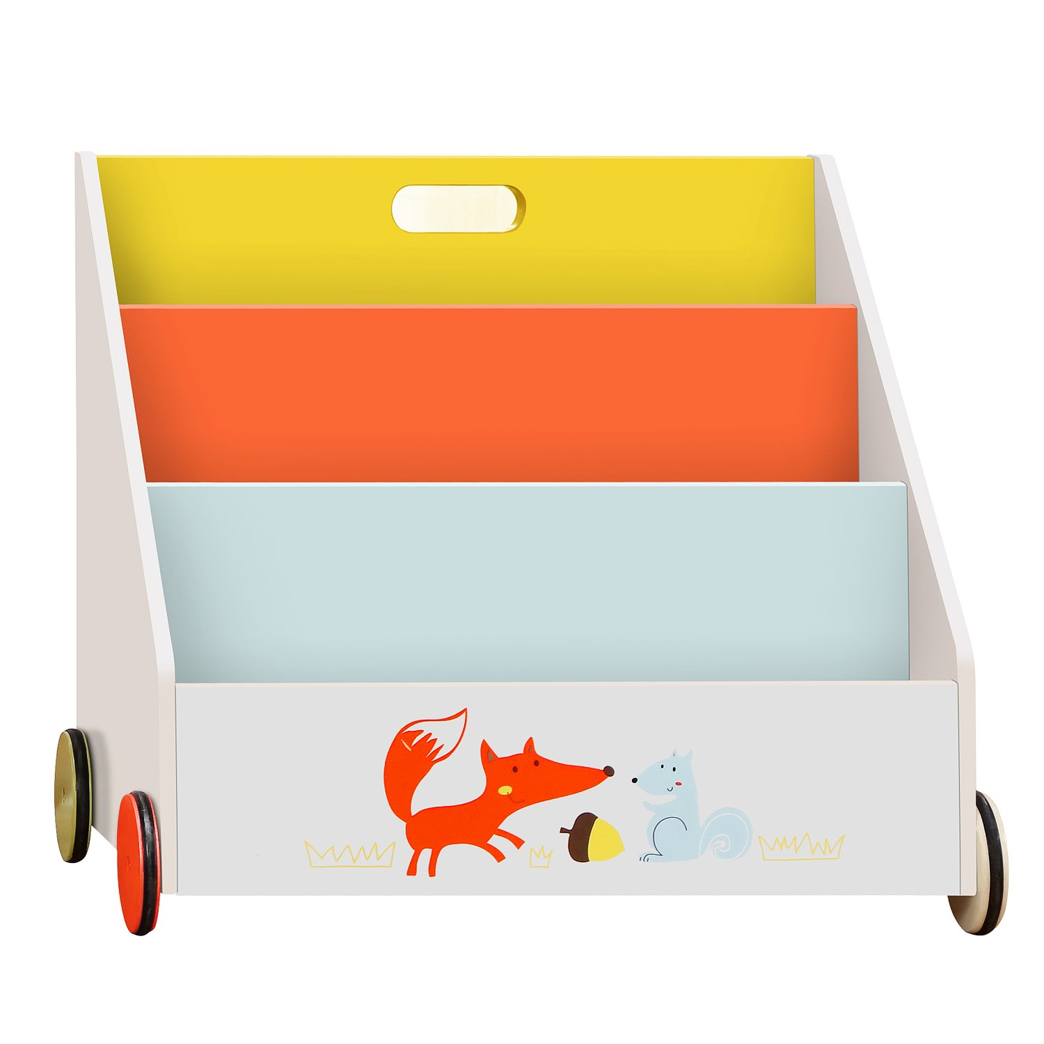labebe Kid Bookshelf with Wheels, Orange Fox Wood Bookshelf for Kids 1 Year Up, Baby Bookshelf/Child Bookshelf/Toddler Bookshelf Kid Book Display/Bookshelf Kid Wooden/Book Display Stand Kid/Book Rack