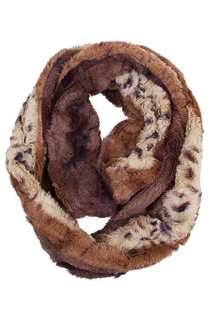 ScarvesMe Super Soft Animal Cheetah Faux Fur Winter Warm Infinity Loop Scarf