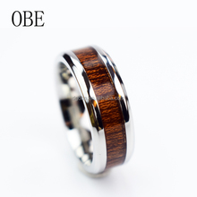 Jewelry Custom Stainless Steel Men's European fashionable Wood Band Rings designs