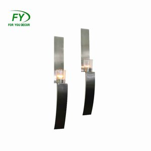 Home and Wall Stainless Steel and metal Wall Sconce Candle Holder with clear glass pot CH-30219