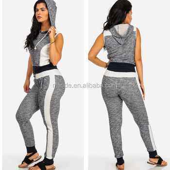 Fitness Women Active Running Gym Wear Navy Sports Two-Piece Hooded  Sleeveless Jumpsuit Outfit Set 791bf4fd84da