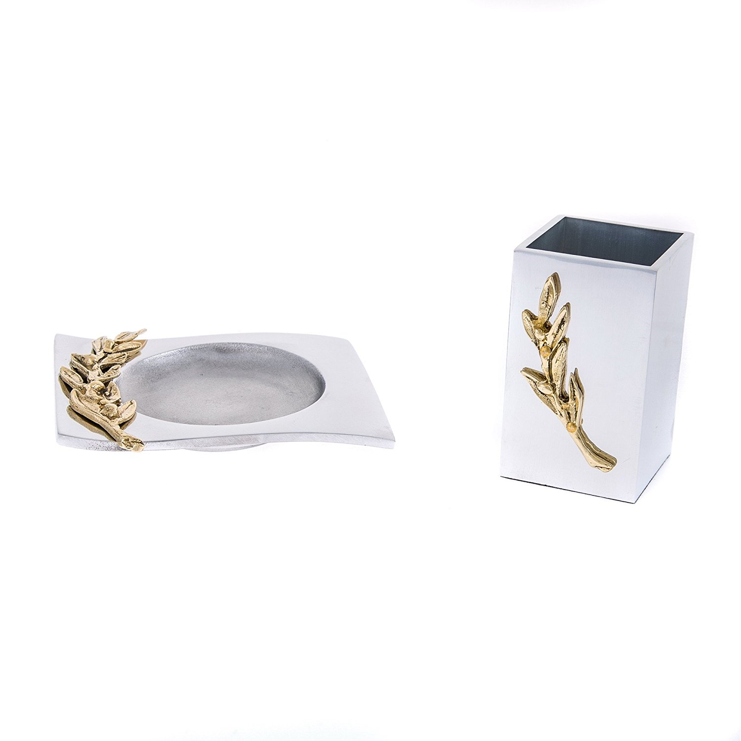 Get Quotations Set Of 2 Stylish Solid Metal Office Desk Accessories Handmade Golden Olive Branch Design