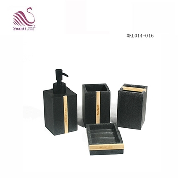 Kinglet Suanti Personalized Black Sandstone Polyresin Bath Set Accessories With Wood
