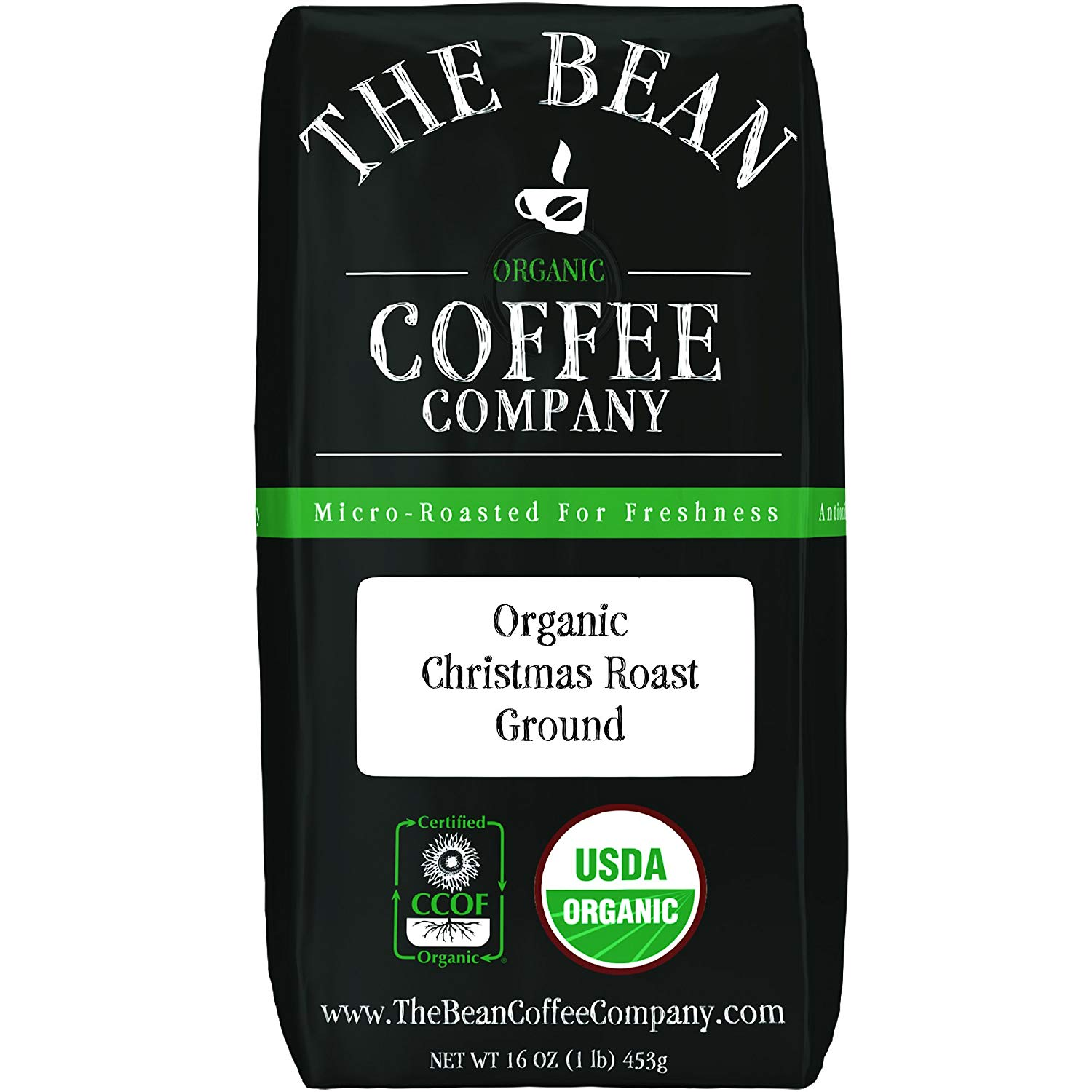 The Bean Coffee Company Organic Christmas Roast, Dark Roast, Ground, 16-Ounce Bag