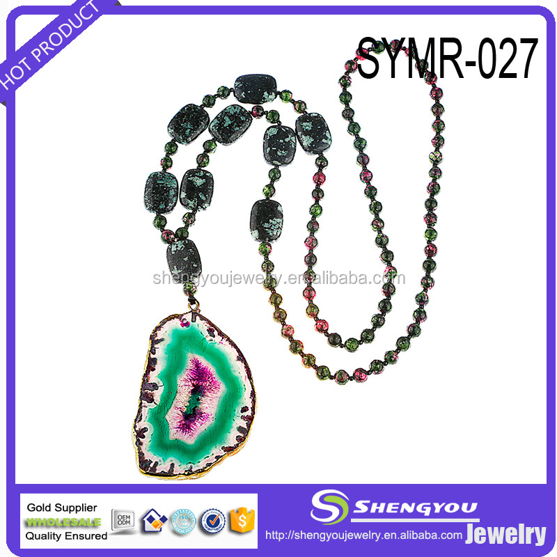 Latest Design Bead Jewelry Beautiful Natural Stone Colorful Women Necklace