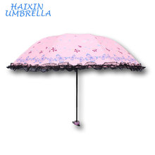 2018 Wholesale Alibaba Cheap Folding Promotion Lady Various Color Pink Schoolgirl Cute Parasol Princess Lace Umbrella Wedding