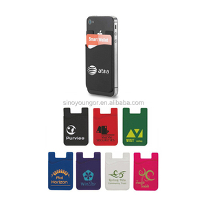 Silicone smart mobile phone card holder wallet with 3M sticky