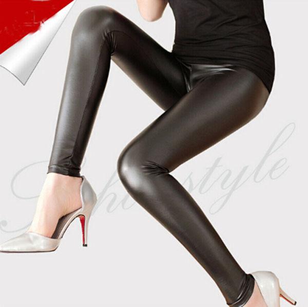 43c575c473 2016 Nuevo diseño de moda marca Leggings cintura alta de imitación de cuero  negro Pantalones
