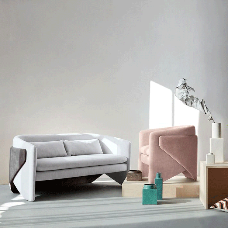 Light pink upholstery single chairs nordic Itality style modern living room chairs coffee shop chairs