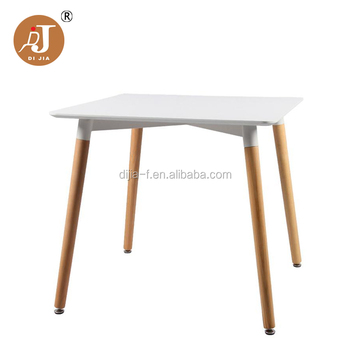Modern Cafe Table Design Square White MDF Wooden Dining Table