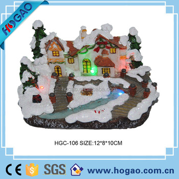 2015 christmas led lighted village house hand made ploly resin christmas ornaments merry christmas