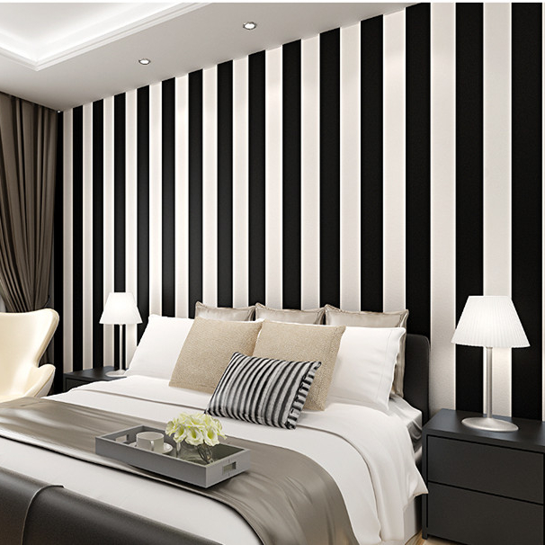 Vertical Lines Black And White Interior Decor Wall Wallpaper
