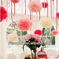 European DIY colored paper flowers Pom poms flower ball party supplies wedding valentines day gifts decoration