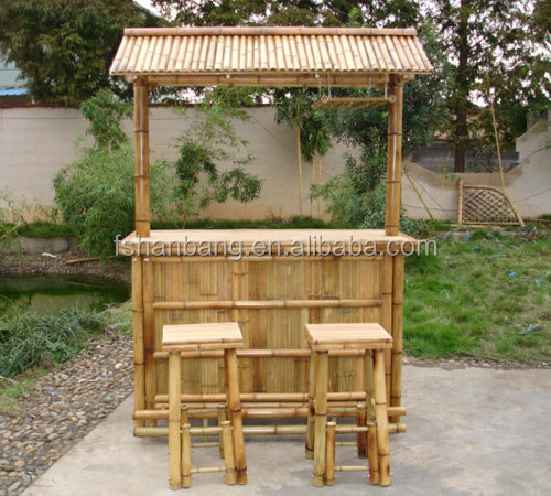 Outdoor Bamboo Counter Tiki Bar Table Chair Stool Set