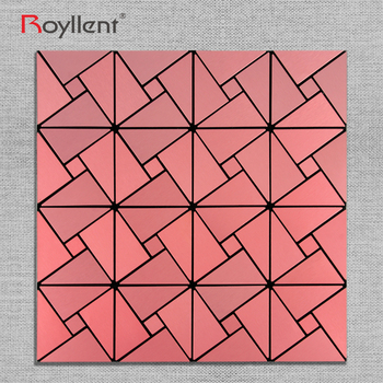 Modern kitchen pink Brush metallic mosaic tile for kid room bathroom wholesale home decoration mosaics china supplier RM201623