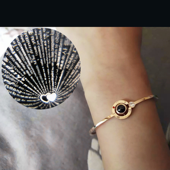 factory direct wholesale Korean version 100 languages I love you bangle stainless steel bangle rose gold couple