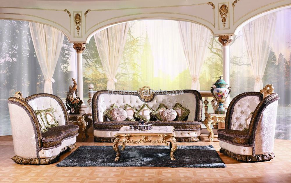 Luxury Victorian Style Living Room Furniture Sofa Set Royal Palace Wood Carving