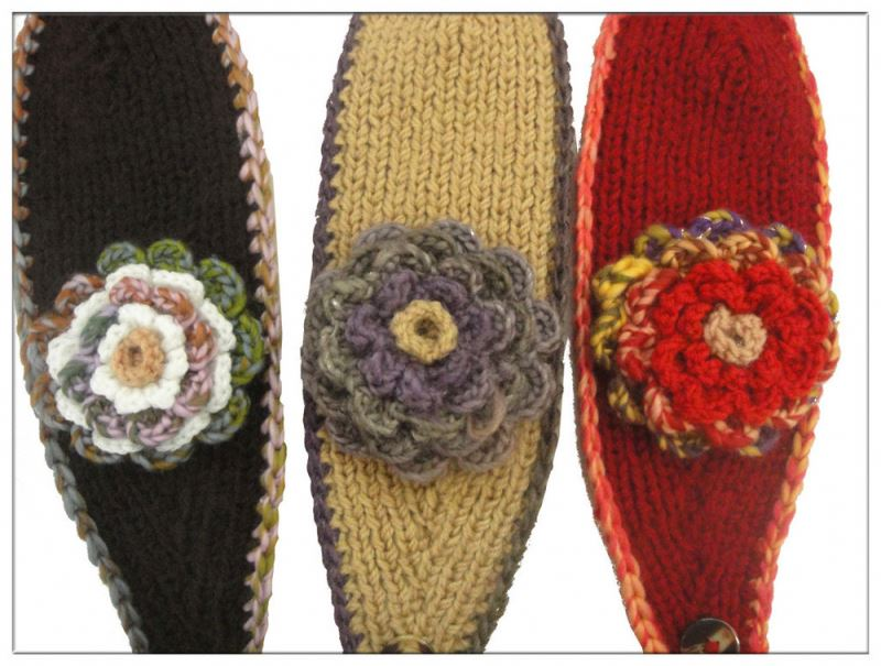 Winter Hair Bands Wool Warmer Knitted Headbands With Flowers