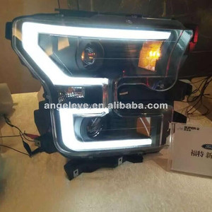 2014-2015 year Head Light for Ford F150 Raptor F-150 LED strip front lamp black housing