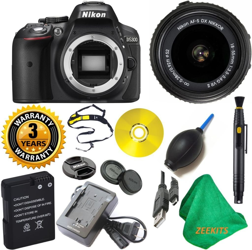Nikon D5300 24.2 MP CMOS Digital SLR Camera with 18-55mm f/3.5-5.6G VR II Auto Focus-S DX NIKKOR Zoom Lens with Lens Cleaning Pen + 3 Year Worldwide Warranty - International Version