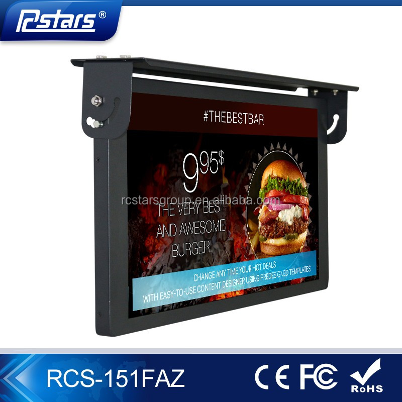 "15 ""decke auto/bus lcd-werbung-player/monitor/display/digital signage"