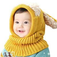 Kids Winter knitted baby crochet Hats Children Warm Conjoined shawl Hat scarf set Baby Bonnet Enfant Cartoon Cute Hat