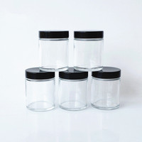 lead free straight slide clear round glass jar for weeds herbs canister bottle with black matte or smooth screw lid 60ml 90ml