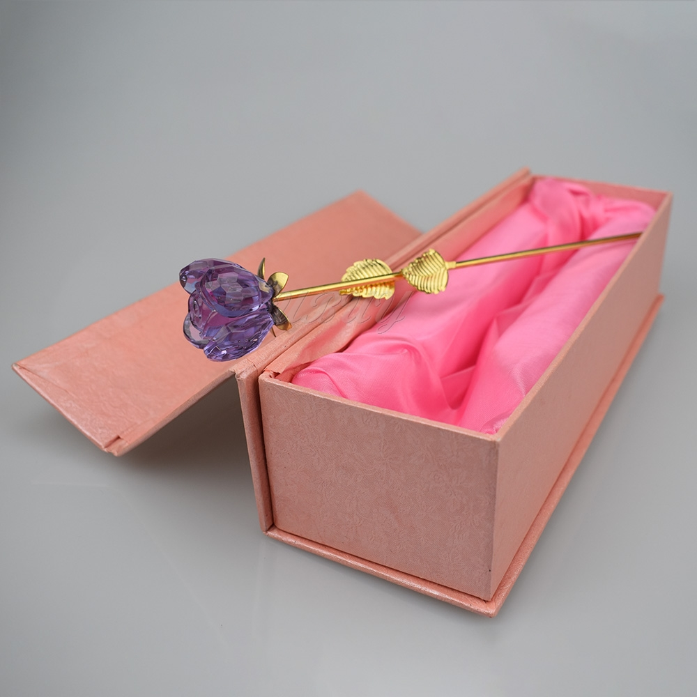 24k Gold Exquisite Crystal Purple Rose Flower For Valentines Mother Day Gift