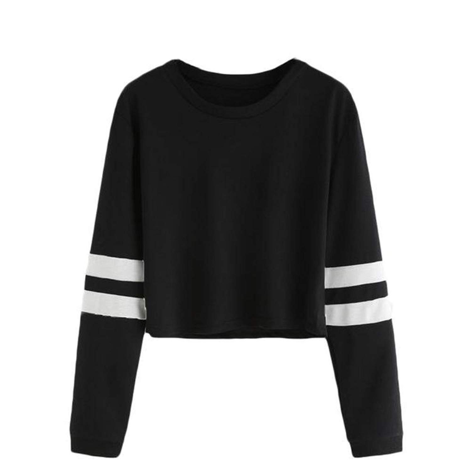 eb185ad5e4 Get Quotations · Yashu Women Red Black Color Round Neck Striped Long Sleeve  Polyester Top Tees