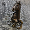 outdoor wall decoration metal art casting antique bronze horse half body wall sculpture statue BSD-086