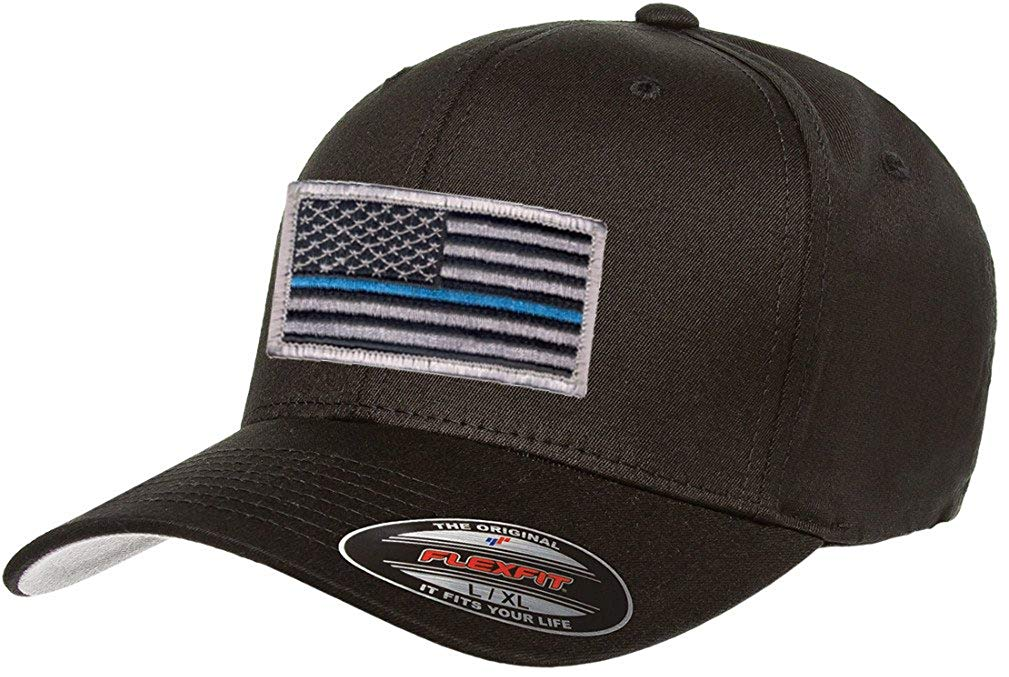 cccb9a8b54487 Get Quotations · Flexfit V-Flexfit Cotton Twill Fitted 5001 Thin Blue Line  Hat