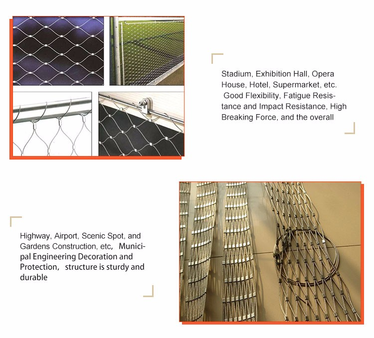 Light Weight High Strength stainless steel wire rope mesh net