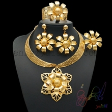 22ct dubai gold plated jewellery set sunflower indian bridal jewelry sets wholesale from china