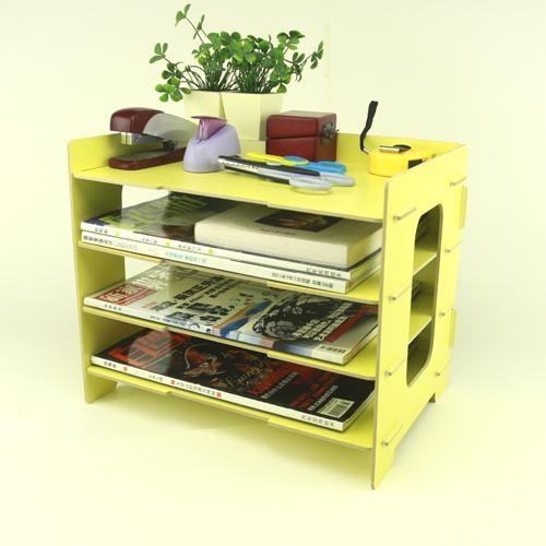 DIY A4 File Folder Desktop Shelf, Multi-function Ladder-Like Wooden Cosmetic Makeup/ Jewelry Storage Box