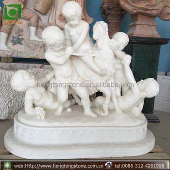 White Marble Nud Little Boy Garden Statues