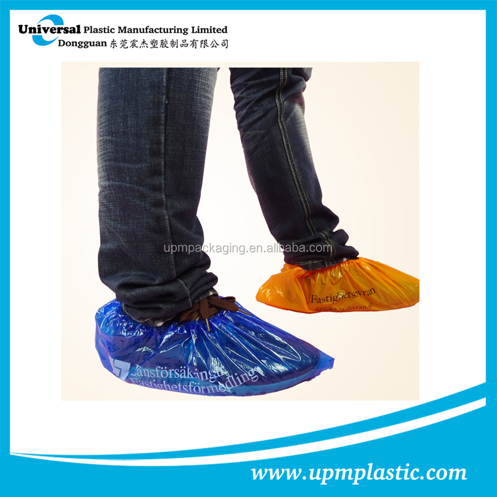 One time use plastic LDPE shoe cover with rubber band