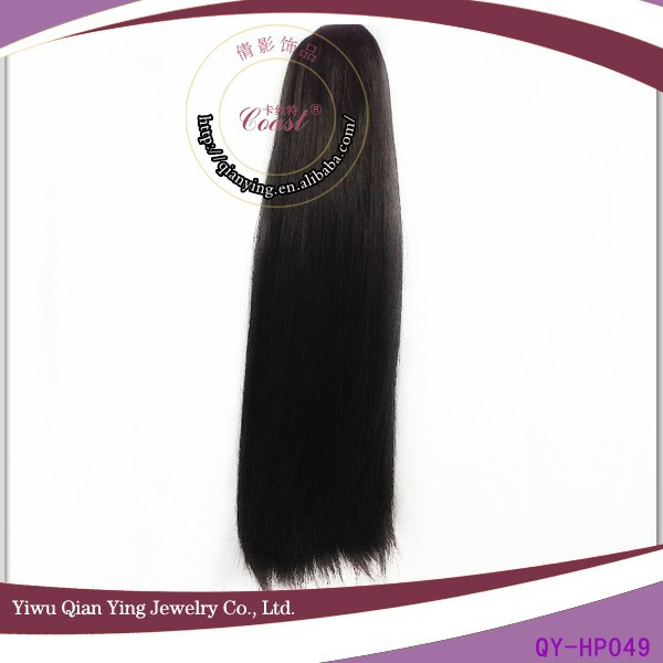 black wholesale straight synthetic claw clip ponytail hair extension pieces