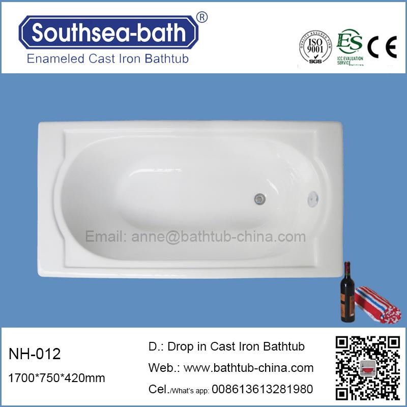 Deep Cast Iron Bathtub 1.5m Bath Tub Drop In Design Cast Iron ...