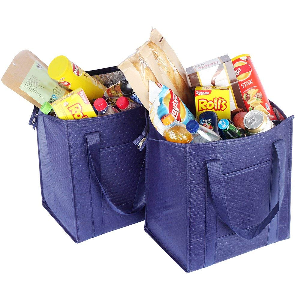 Insulated Grocery Tote Large Reusable food delivery cooler bag insulated food delivery bags