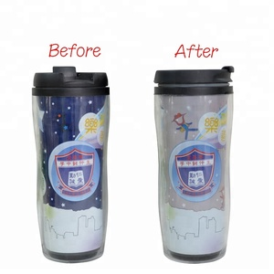 Best selling items 22oz double wall color change printed plastic cup with silicone lid