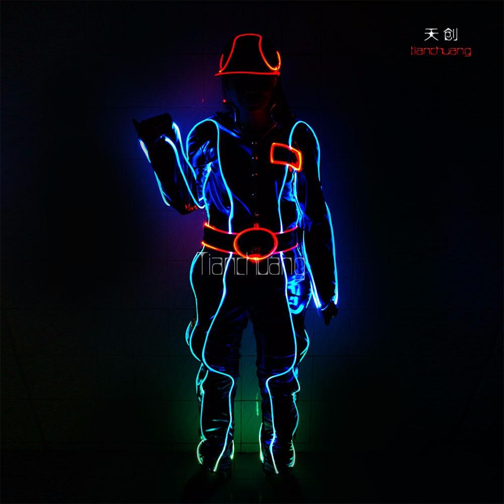 Fiber Cosplay Programmé Optique De Costume Tron Robot Led Danse dXw7Raq