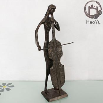 Cast Iron Bronze Sculpture Music Statue For Home Decoration The Cello Figurines 09018 C3