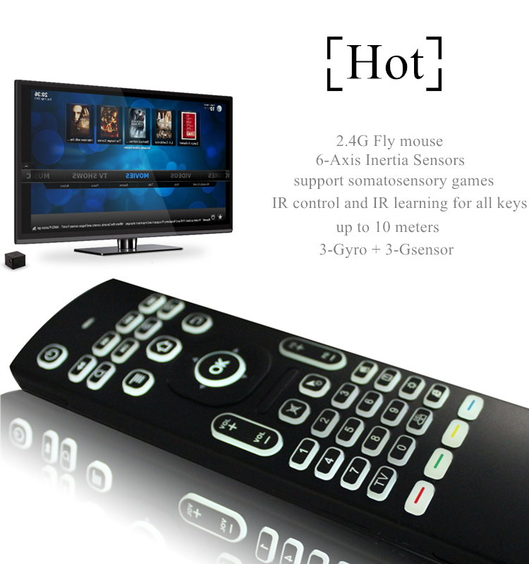 2019 New design MX3-L backlit air mouse universal remote controller manufactured in China Somatosensory control
