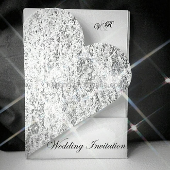 2018 new style heart shaped fancy shiny crystal silver glitter wedding  invitation cards 30d5d381763c