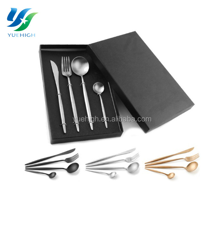 4pcs Spoon Knife Fork Long Handle Rose Gold Silverware Flatware Set