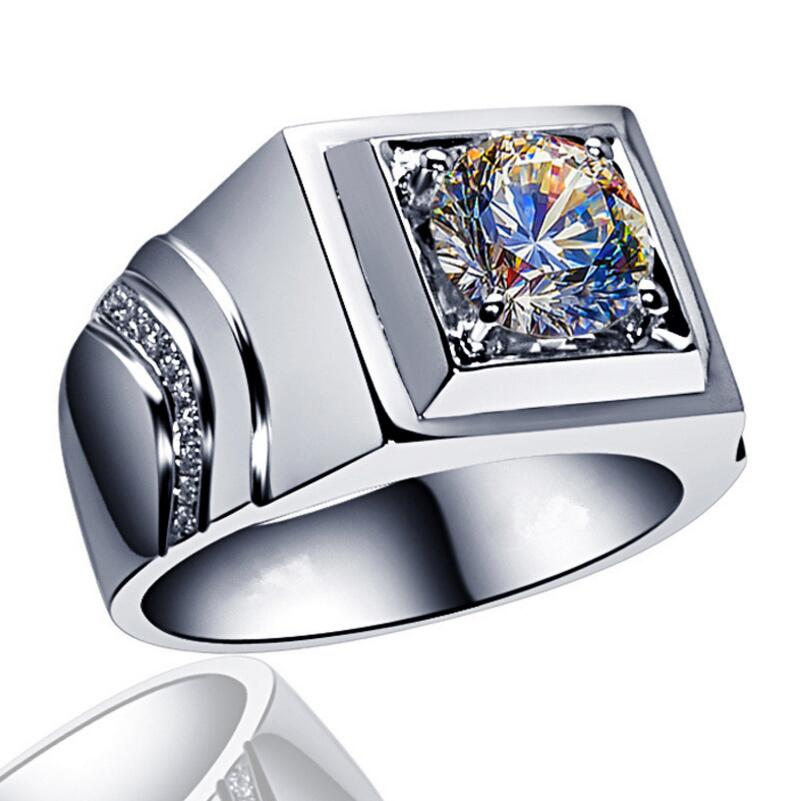 Fashion new Cool 18 K White gold filled AAAAA zirkoon ring mannen ring Party Bruiloft Sieraden Accessoires Ring