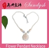 Women's Fashion Jwellery Hand Knotted White Beaded Stone Flower Pendant Necklaces