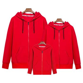 Custom Men Zipper Family Suit Hoos Red Color Long Sleeve Hoo